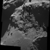 Comet Churyumov-Gerasimenko: pits, scarps, and boulders on the neck, October 18, 2014