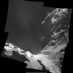 Comet jets from close range, October 18, 2014