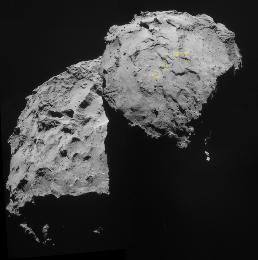 Philae's ground track on a NavCam context image