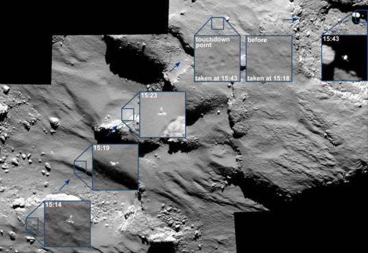 OSIRIS sees Philae multiple times during landing
