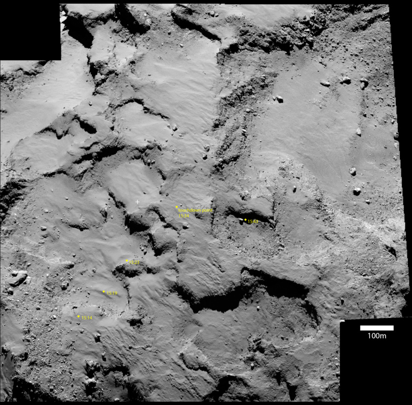 Philae's ground track on an OSIRIS context image
