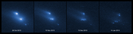Asteroid P/2013 R3 breaking apart
