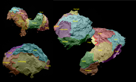Map of comet Churyumov-Gerasimenko regions