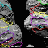 Map of comet Churyumov-Gerasimenko regions (alternative views)
