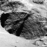 Dinosaur eggs or goosebumps in a comet pit