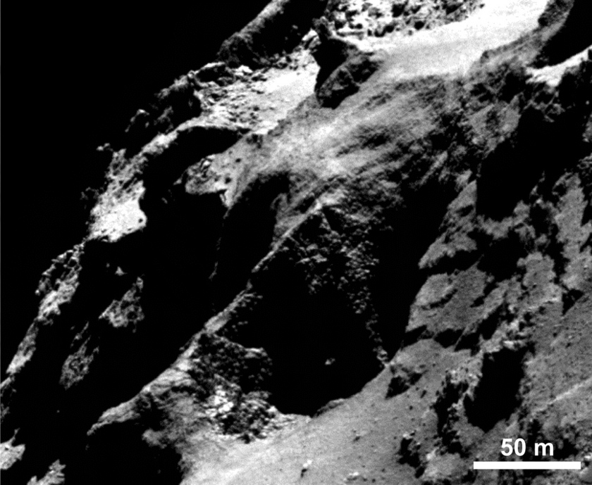 Dinosaur eggs or goosebumps in a comet cliff