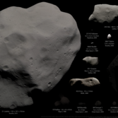 All asteroids and comets visited by spacecraft as of August 2014, in color, albedo linearly scaled