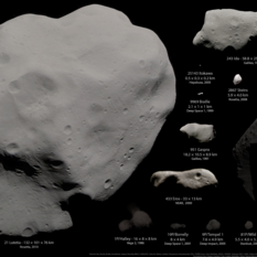 Asteroids and comets visited by spacecraft as of August 2014, in color, excepting Vesta