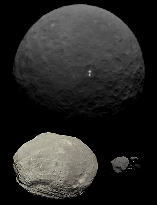 Quick-and-dirty comparison of the sizes of Ceres and Vesta to other asteroids