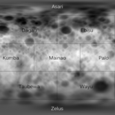 Topographic map of Ceres, with quad names