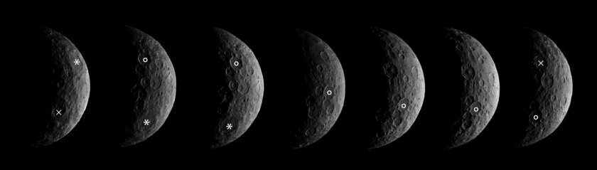 Images of Ceres' south pole from Dawn's first science orbit (annotated)