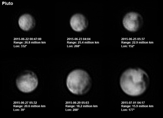Pluto's progression: June 22 to July 1, 2015 (third-to-last Pluto day before New Horizons encounter)