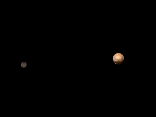 Pluto and Charon in color: LORRI + MVIC, July 8 & June 25, 2015