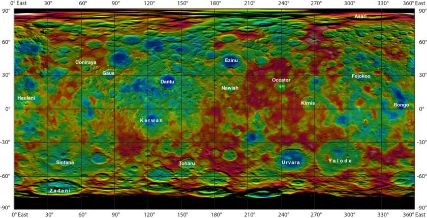 Topographic map of Ceres with crater names