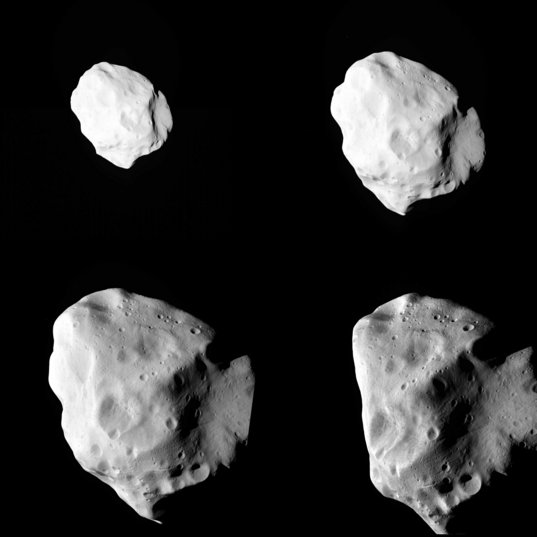 Four views of Lutetia from Rosetta