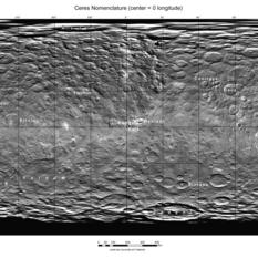 Ceres map with nomenclature as of August 2015