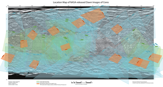 Location Map for NASA-released Dawn images of Ceres