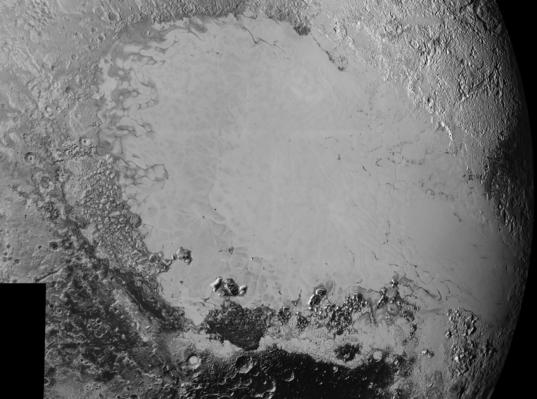 Pluto's diverse terrain (mosaic with detail images)
