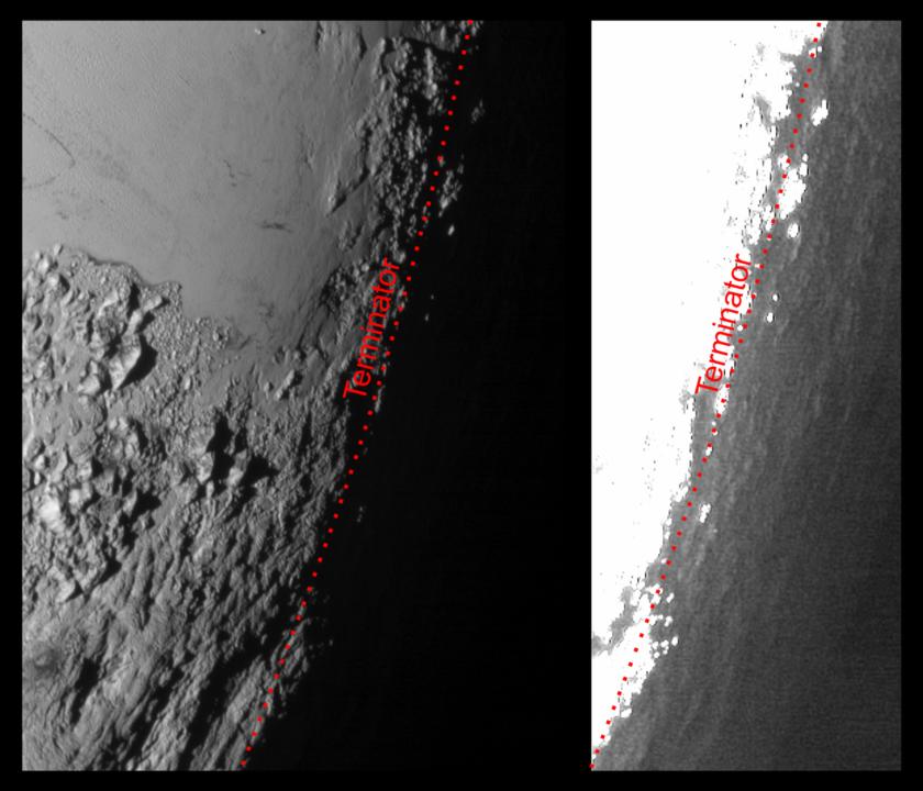Twilit Pluto beyond the terminator