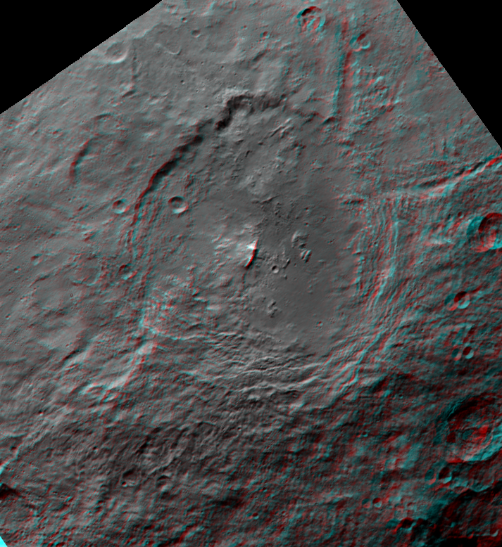 Urvara crater, Ceres, in 3D