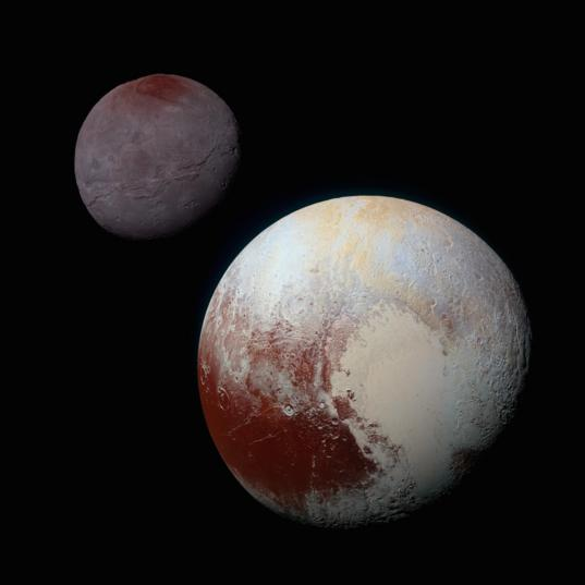 Pluto and Charon in enhanced color from Ralph MVIC
