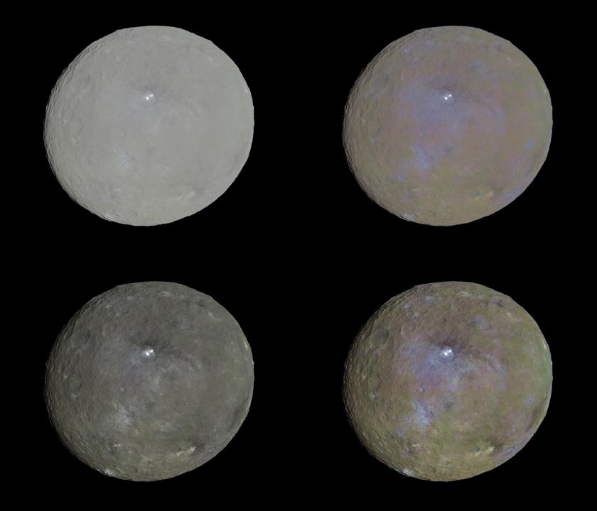 Four color views of Ceres
