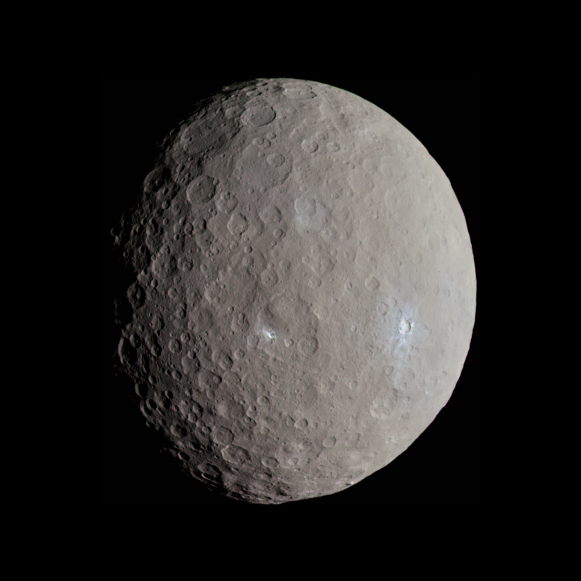 Color global view of Ceres: Oxo and Haulani craters