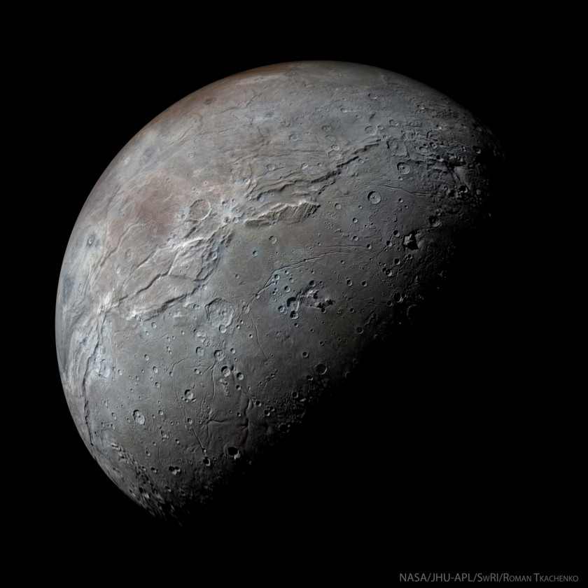 Simulated view of a half-phase Charon