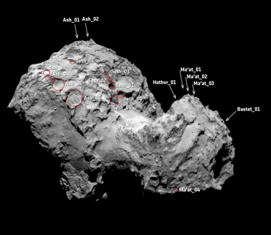 Context map for active regions on comet 67P