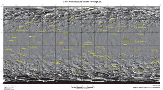 Ceres map with nomenclature as of February 2016