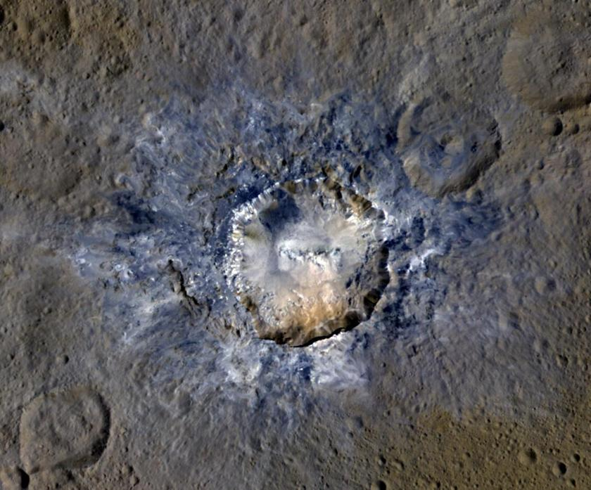 Haulani Crater in enhanced color