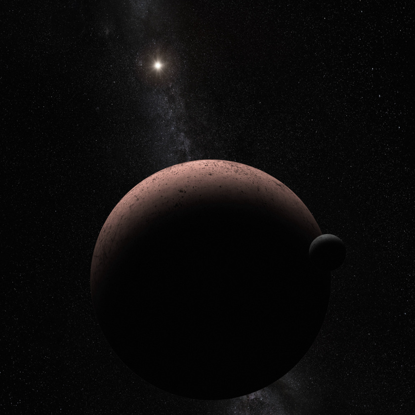 Artist's impression of Makemake and its moon