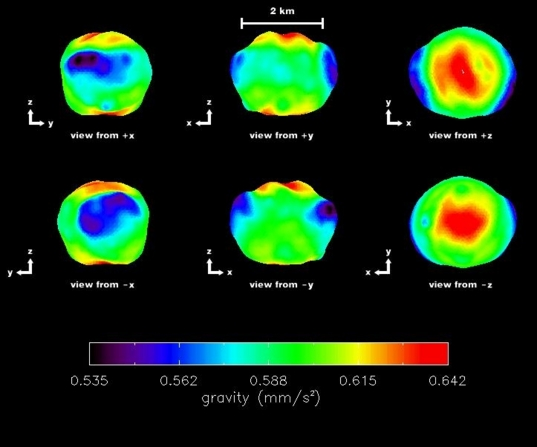 False color gravity map of Near Earth Asteroid 2000 ET70, from radar observations