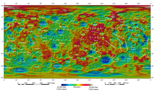 Topographical map of Ceres
