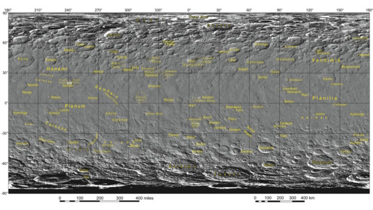 Map of names on Ceres