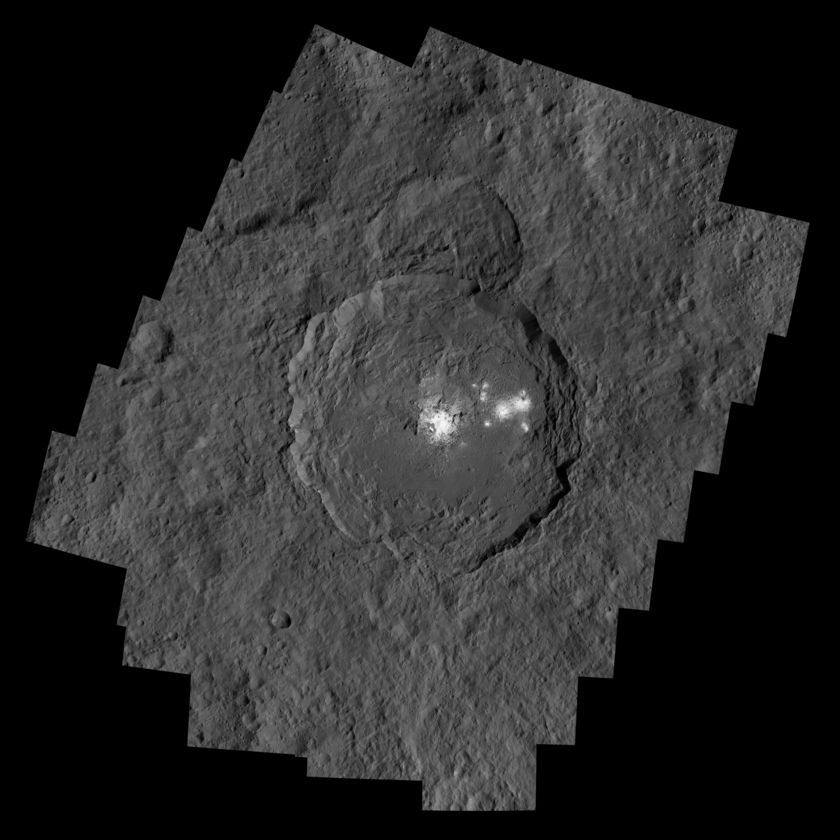 Occator Crater on dwarf planet Ceres, with its now somewhat less mysterious bright spots or areas