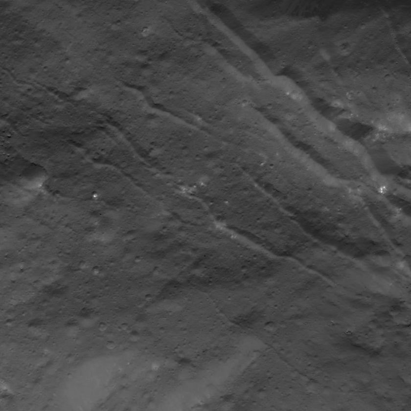 Fractured terrain inside Occator Crater