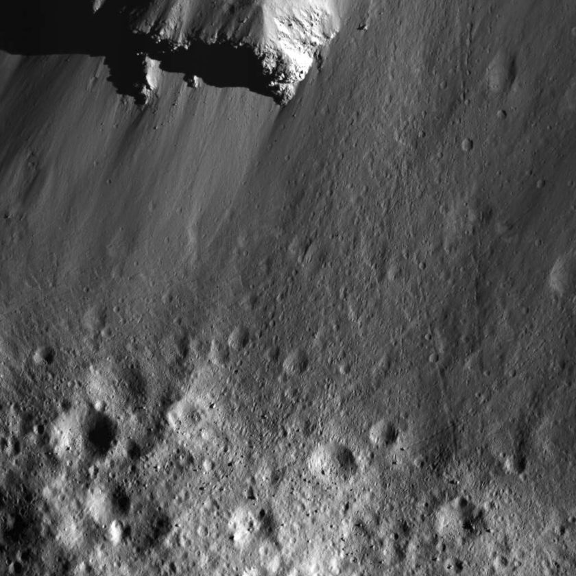 Urvara Crater's north wall