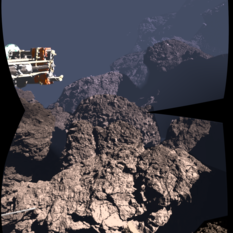 Comet 67P's surface, with depth cues