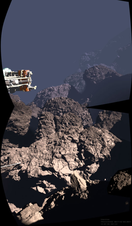 Two views of comet 67P's surface