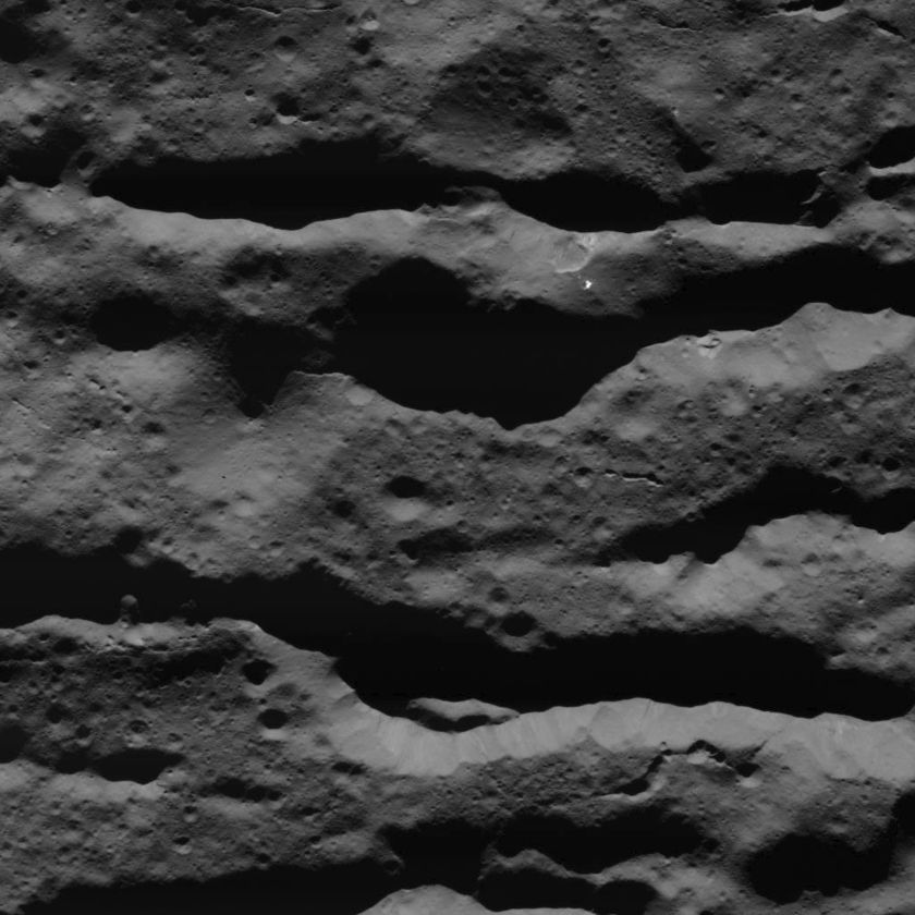 Canyons in Urvara Crater