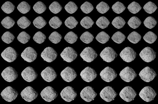 OSIRIS-REx's approach surveys of asteroid Bennu (enhanced contrast)