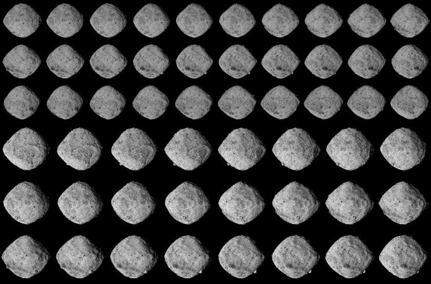 OSIRIS-REx's approach surveys of asteroid Bennu (enhanced contrast)