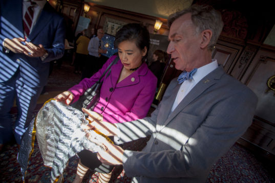 Rep. Judy Chu (D-CA) gets a lesson on solar sailing from Bill Nye