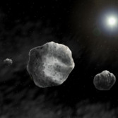 Artistic view of the Triple Asteroid System (93) Minerva