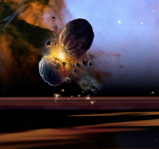 Artist's impression of a planetesimal collision