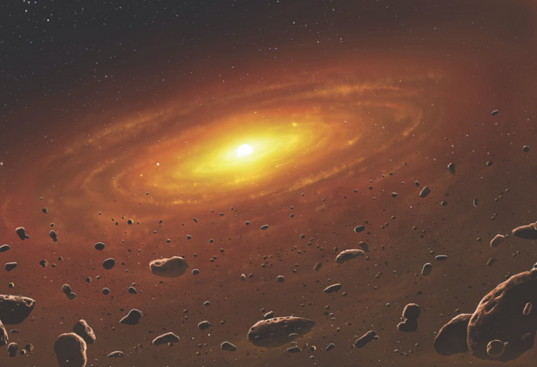 Artist's impression of a protoplanetary disk containing solids