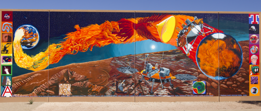 Mural on the south wall of the Michael J. Drake building