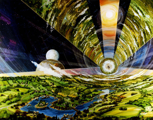 1970s artist concept for a space colony based on work by Gerard K. O'Neill and others