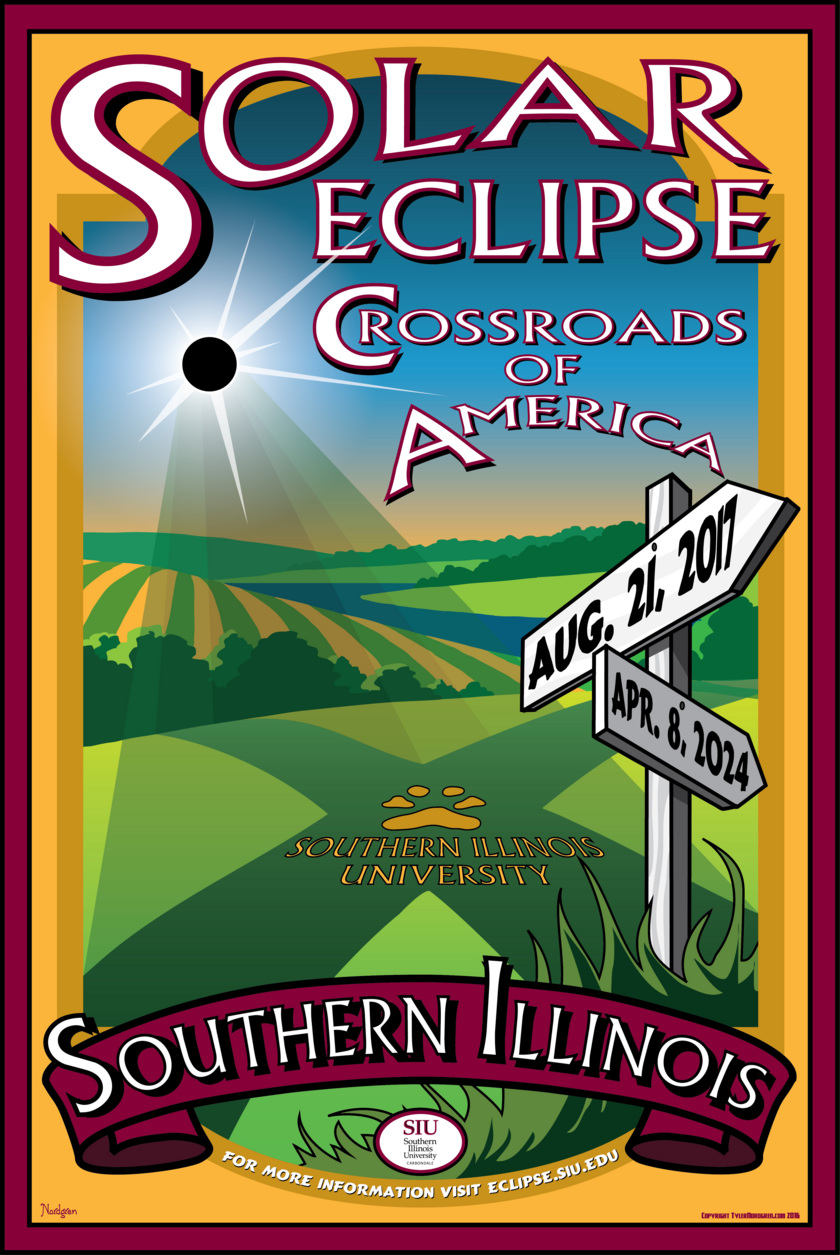 Astronomer and artist Tyler Nordgren's poster for SIU Carbondale's Eclipse Celebration